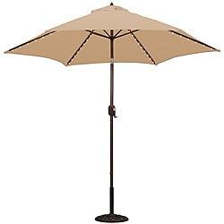 TropiShade 9-foot Beige Aluminum Bronze Lighted Market Umbrella