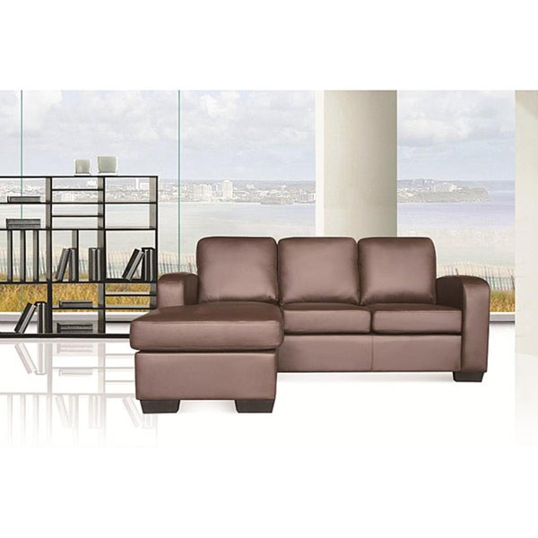 Lexington Brown Faux Leather Sectional Chaise Sofa