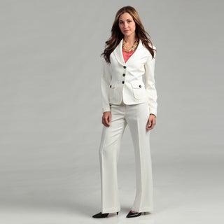 Nine West Women's Ivory 2-piece Striped Pant Suit