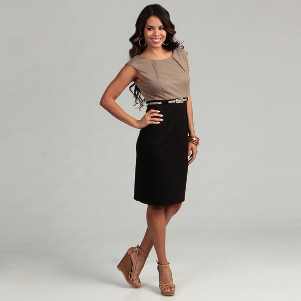 Connected Apparel Women's Khaki/ Black Belted Dress