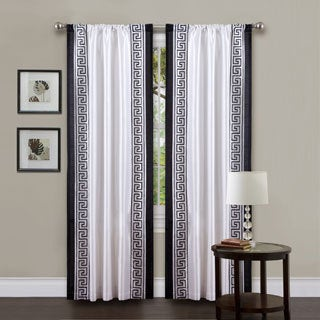 Lush Decor White/ Black 84-inch Metropolitan Curtain Panel