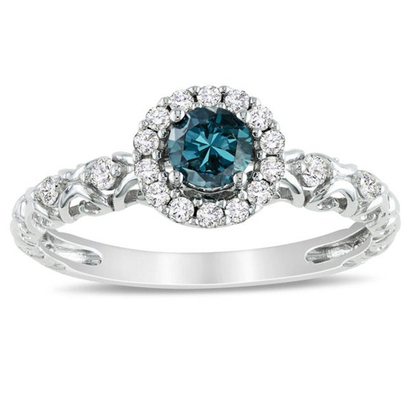 Miadora 14k White Gold 1/2ct TDW Blue and White Diamond Halo Ring (H-I, I1-I2)