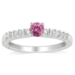 Miadora 10k White Gold 1/2ct TDW Pink and White Diamond Ring (H-I, I1-I2)