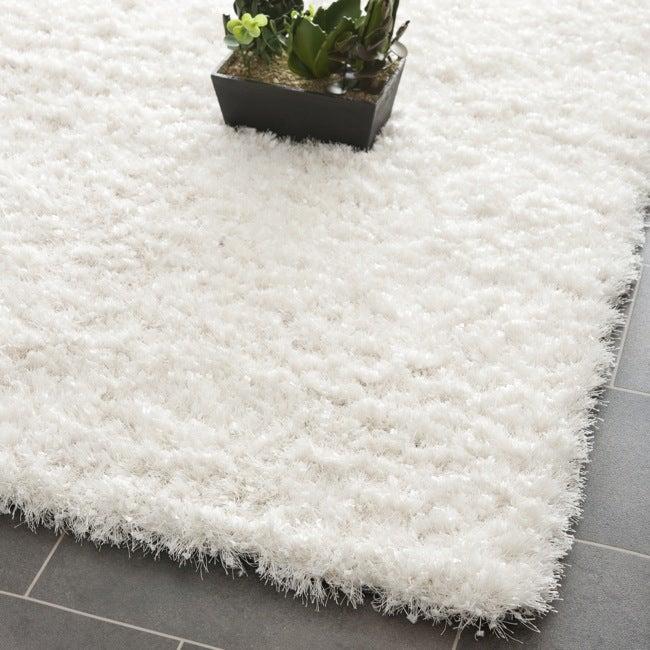 Fluffy White Bath Rug Oval