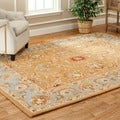 Handmade Heritage Shahi Brown/ Blue Wool Rug (9&#39; x 12&#39;)