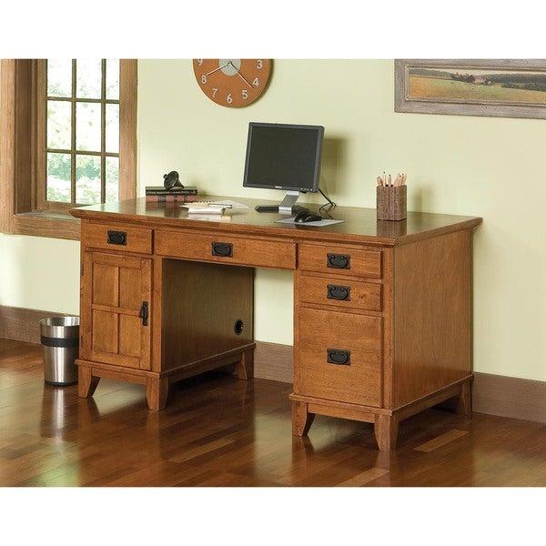 Arts and Crafts Cottage Oak Pedestal Desk