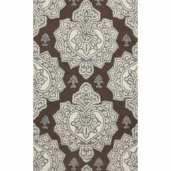nuLOOM Handmade Indoor / Outdoor Damask Brown Rug (5' x 8')