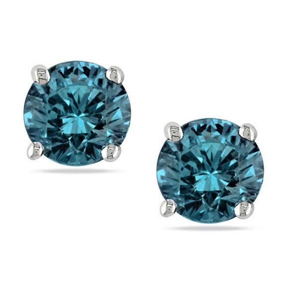 Miadora 14k White Gold 1ct TDW Blue Diamond Stud Earrings
