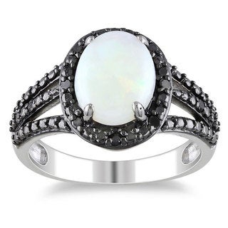 Miadora Sterling Silver Opal and 1/10ct TDW Black Diamond Ring (1 5/8ct TGW)