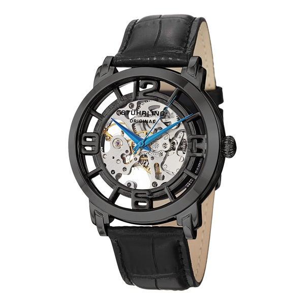Stuhrling Original Men's Winchester 44 Skeleton Automatic Black Leather Strap Water-Resistant Watch