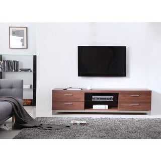 Natasha Light Walnut/ Stainless Steel Modern TV Stand