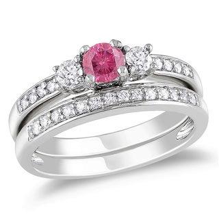 Miadora 14k Gold 1/2ct TDW Pink Color Diamond Bridal Set