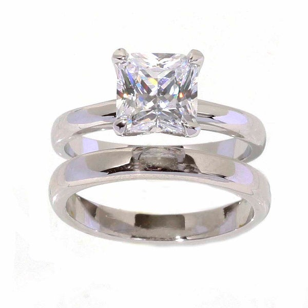 NEXTE Jewelry Silvertone Princess-cut Solitaire Ring and Band
