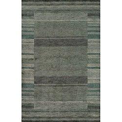 "Loft Blue Gabbeh Border Hand-Loomed Wool Rug (9'6"" x 13'6"")"