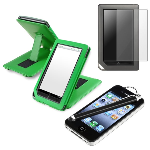 INSTEN Leather Phone Case Cover/ Screen Protector/ Stylus Bundle for Barnes & Noble Nook Color