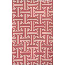 Hand-woven Coral Alpina Wool Rug (5' x 8')