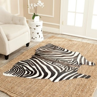 Safavieh Handpicked Hacienda Argentinian Zebra Print Cowhide Leather Rug (4'6 x 6'6)