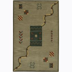 Hand-Tufted Green Contemporary Mandara Wool Rug (7'9 x 10'6)