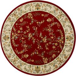Hand-Tufted Mandara Red/Ivory Floral Wool Rug (7'9 Round)