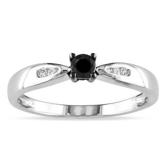 Haylee Jewels Sterling Silver 1/5ct TDW Black and White Diamond Ring