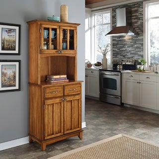 Cottage Oak Hutch Buffet with Wood Top