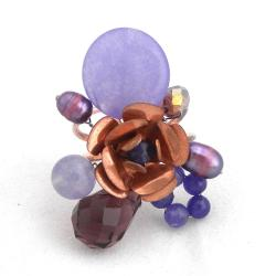 Pearl, Agate and Amethyst Copper Rose Ring (5 mm)(Thailand)