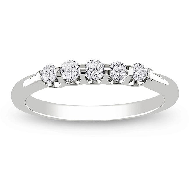 14k White Gold 1/4ct TDW Diamond 5-stone Ring (G-H, I1)