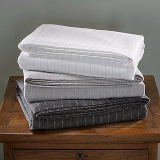 Luxury German Stripe Print 6-oz Flannel Sheet Sets