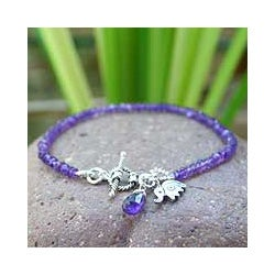 Sterling Silver 'Elephant Fortunes' Amethyst Bracelet (Thailand)