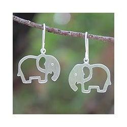 Sterling Silver 'Moonlit Elephants' Earrings (Thailand)