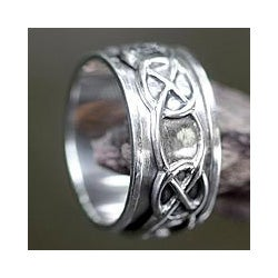 Sterling Silver Men's 'Chains' Spinner Ring (Indonesia)