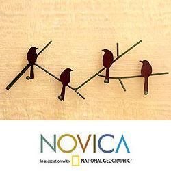 Iron 'Birds On Winter Wood' Key Holder (Mexico)