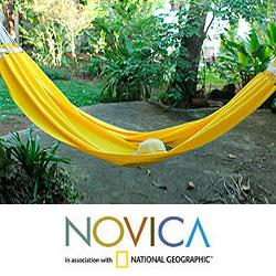 Handcrafted Cotton 'Mucuripe Sun' Hammock (Brazil)