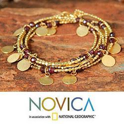 Gold Overlay 'Golden Suns' Garnet Wrap Bracelet (Thailand)