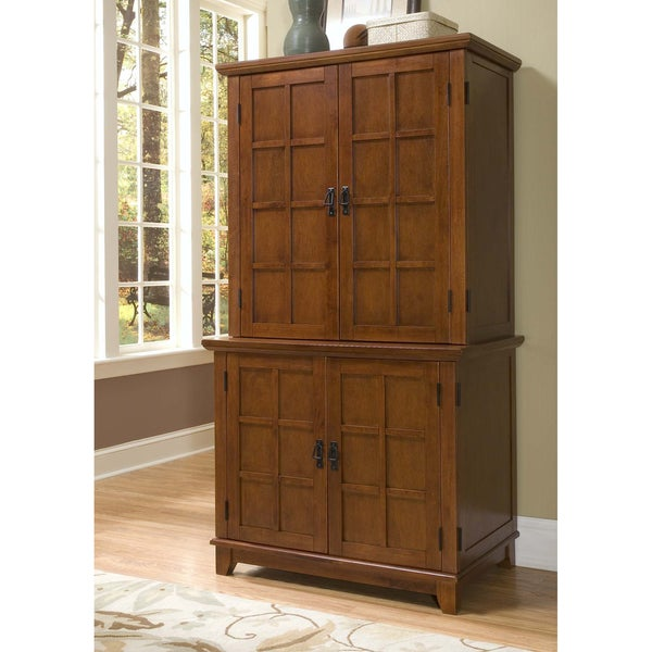 Cottage Oak Arts and Crafts Compact Desk and Hutch