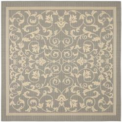 Safavieh Courtyard Poolside Geometric Gray/ Natural Indoor/ Outdoor Rug (7'10 Square)