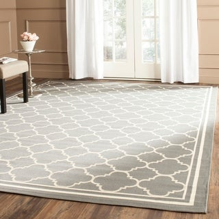 Safavieh Poolside Anthracite/ Beige Indoor Outdoor Rug (6'7 x 9'6)
