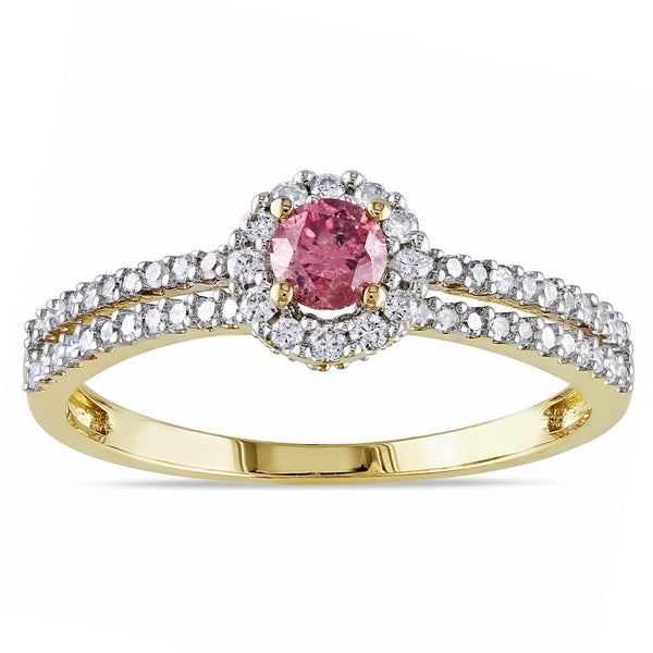 Miadora 14k Yellow Gold 3/4ctTDW Pink and White Diamond Ring (H-I, I1-I2)