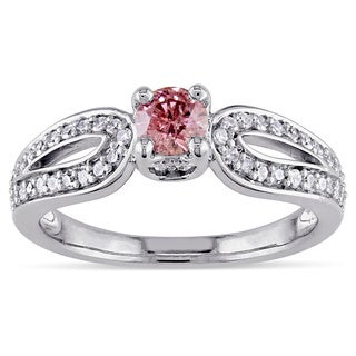 Miadora 14K White Gold 1/2Ct TDW Prong-set Pink and White Diamond Ring