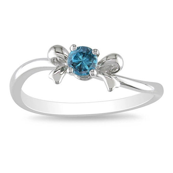 Miadora 10k White Gold 1/5ct TDW Blue Diamond Bow Ring