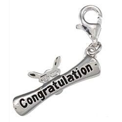 La Preciosa Sterling Silver 'Congratulation' Diploma Charm