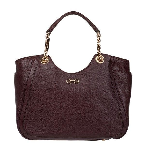 Salvatore Ferragamo 'Betulla' Wine Leather Tote Bag