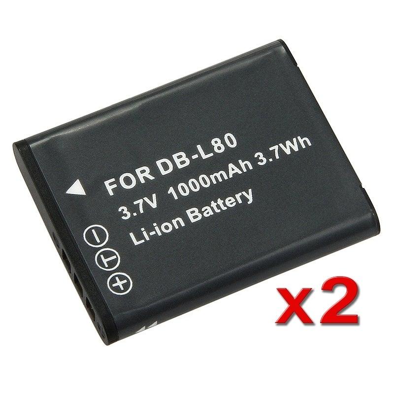 BasAcc Battery for Sanyo DB-L80/ Xacti DMX-CG11 / VPC-CG10 (Pack of 2)