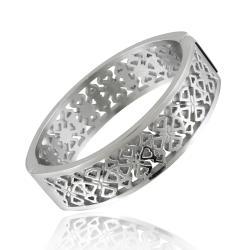 Mondevio Contemporary Stainless Steel Celtic-style Cutout Bangle Cuff Bracelet