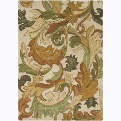 Mandara Hand-tufted Floral Ivory Wool Rug (9' x 13')