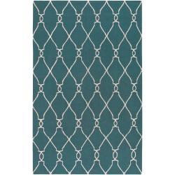 Jill Rosenwald Hand-woven Blue Halicarn Wool Rug (9' x 13')