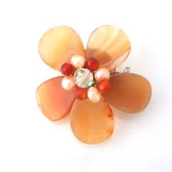 Orange Agate Floral Purity Pearl Pin-Brooch (Thailand)