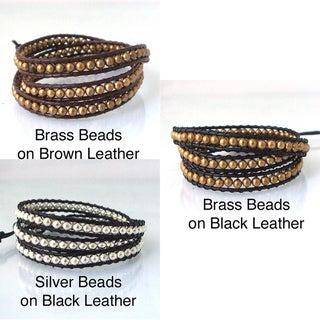 Sublime Metallic Round Beads Triple Wrap Leather Bracelet (Thailand)