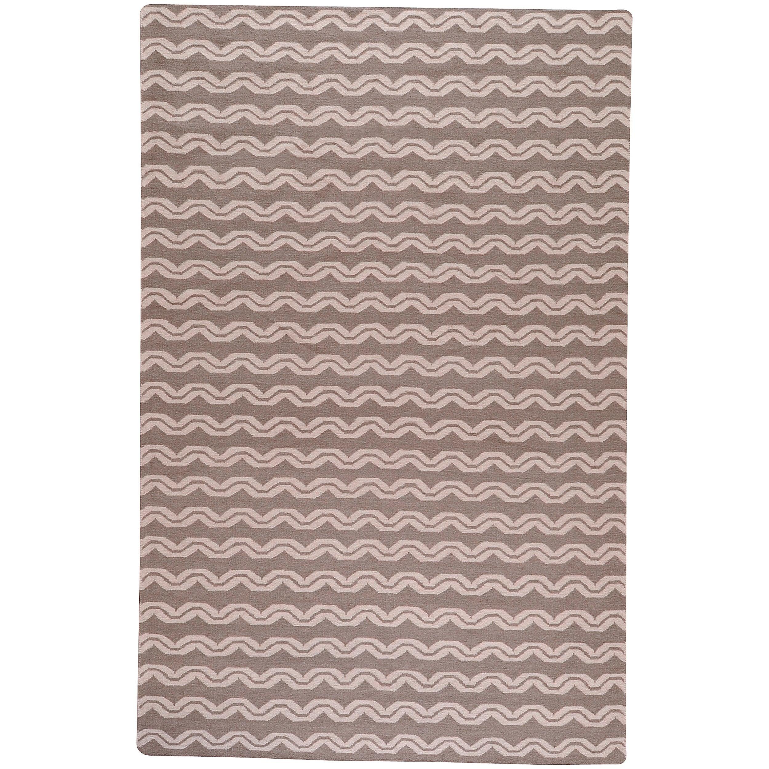 Hand-woven Tan Wool Sheng Rug (5' x 8')