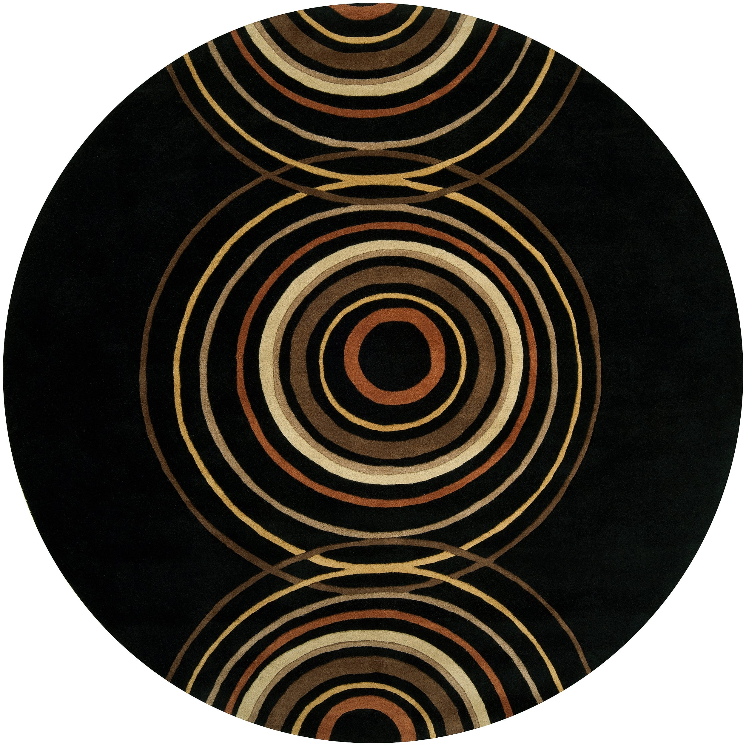 Hand-tufted Black Contemporary Circles Vasily Wool Geometric Rug (8' Round)